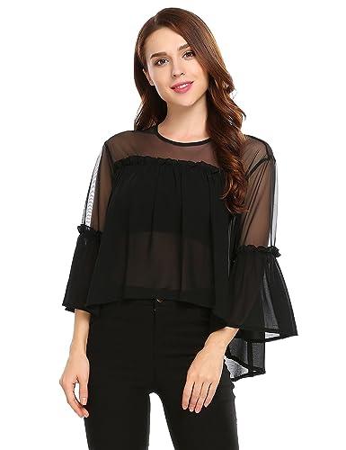 Aimado T-shirt Camiseta Blusa de mujer de Gasa con manga Francesa y Volante Semitransparente
