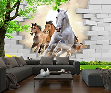 Papier peint photo intissé 3D chevaux sautants KN-1077, XL 350x245 ...