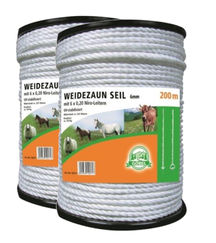 6 Niro,weiss 600 Meter Weidezaun Seil 6mm
