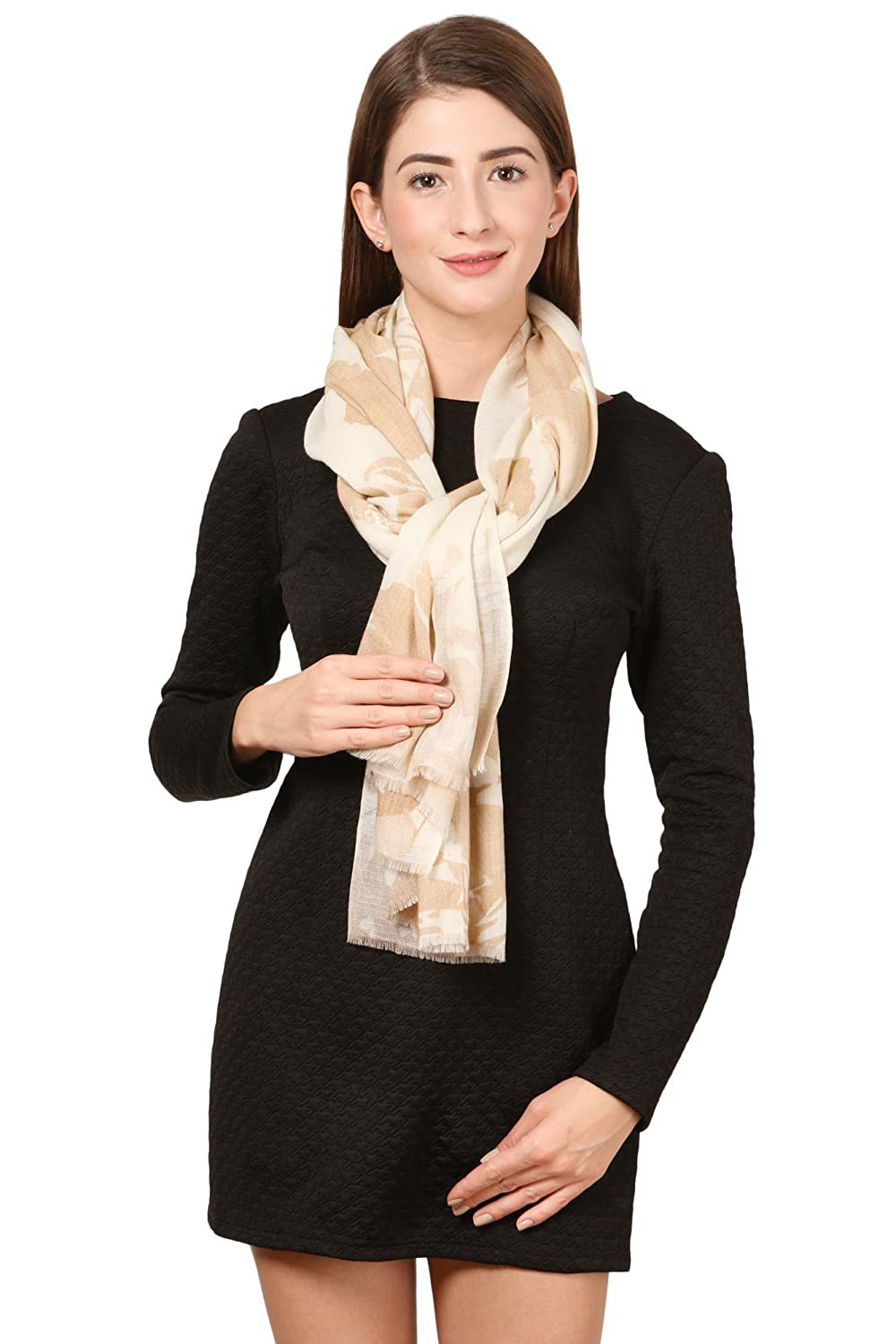 Cafsew Colours Women's Stole (CG-0026-PWRM, Cream,Wool Modal (Viscose)