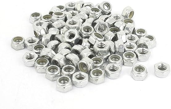 uxcell 3//16 inch-24 Zinc Plated Self-Locking Nylon Insert Hex Lock Nut 50pcs