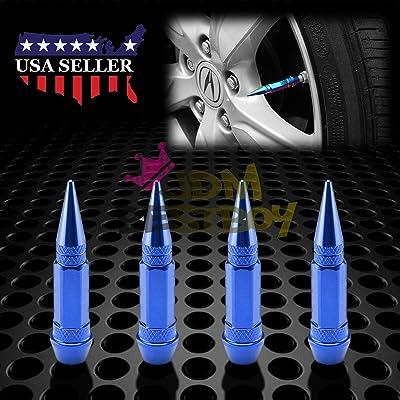 JDMBESTBOY 4PCs Blue Long Spike Tire Valve Stem Caps Metal Thread Wheel Tires TVC28: Automotive