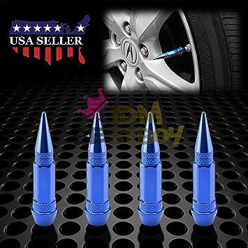 4pcs Blue Air Caps Aluminum Metal Spike Wheel//Tire Valve Stems Truck Auto Cover