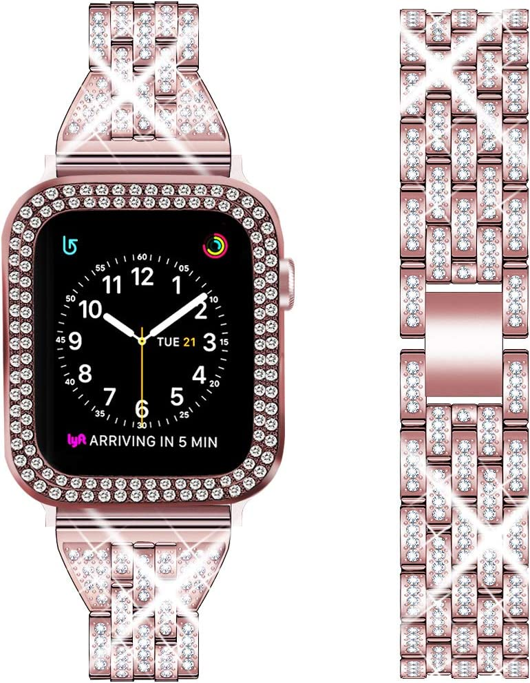 DSYTOM Compatible Apple Watch Band 40mm 38mm 42mm 44mm with Case Women,Slim Rhinestone Metal Jewelry Wristband Strap with Bling PC Protective Case Replacement for iWatch Series 5 4 3 2 1(Rose pink)