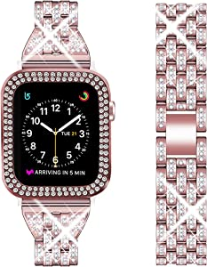 DSYTOM Compatible Apple Watch Band 42mm 38mm 40mm 44mm with Case Women,Rhinestone Metal Jewelry Wristband Strap with Bling PC Protective Case Replacement for iWatch Series 5 4 3 2 1(Rose pink)