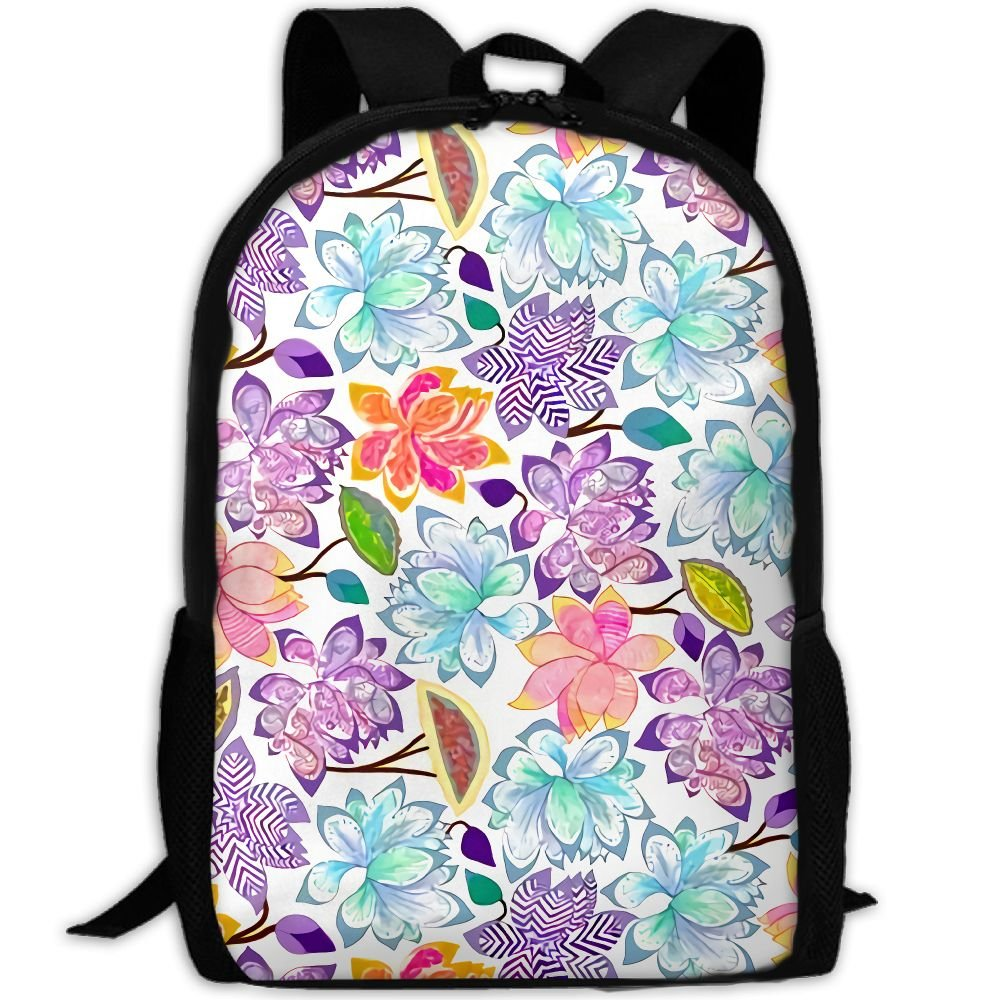 CY-STORE Abstract Color Floral Pattern Print Custom Casual School Bag Backpack Travel Daypack Gifts