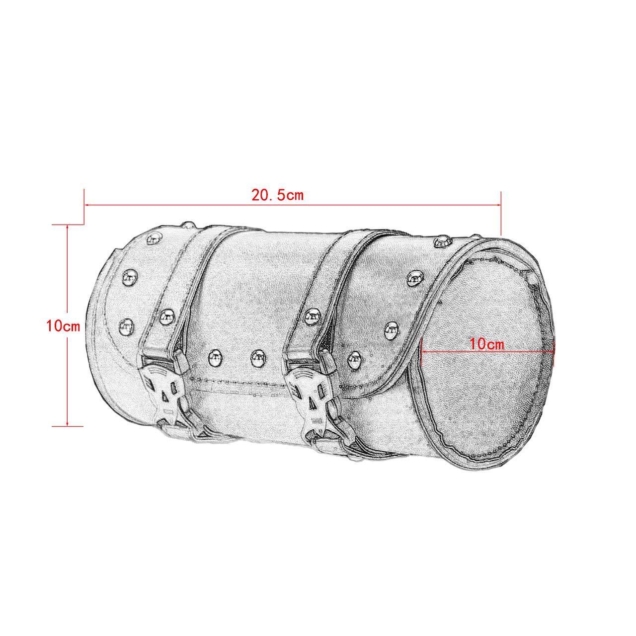 REBACKER Universal Motorcycle Handlebar Tool Front Fork Roll Storage Sissy Bar Barrel Bag PU Leather Deep Brown