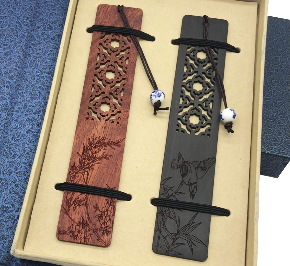 Wooden Handmade Carving Natural Wood Bookmarks - Set of 4 Bookmark (Including Box)