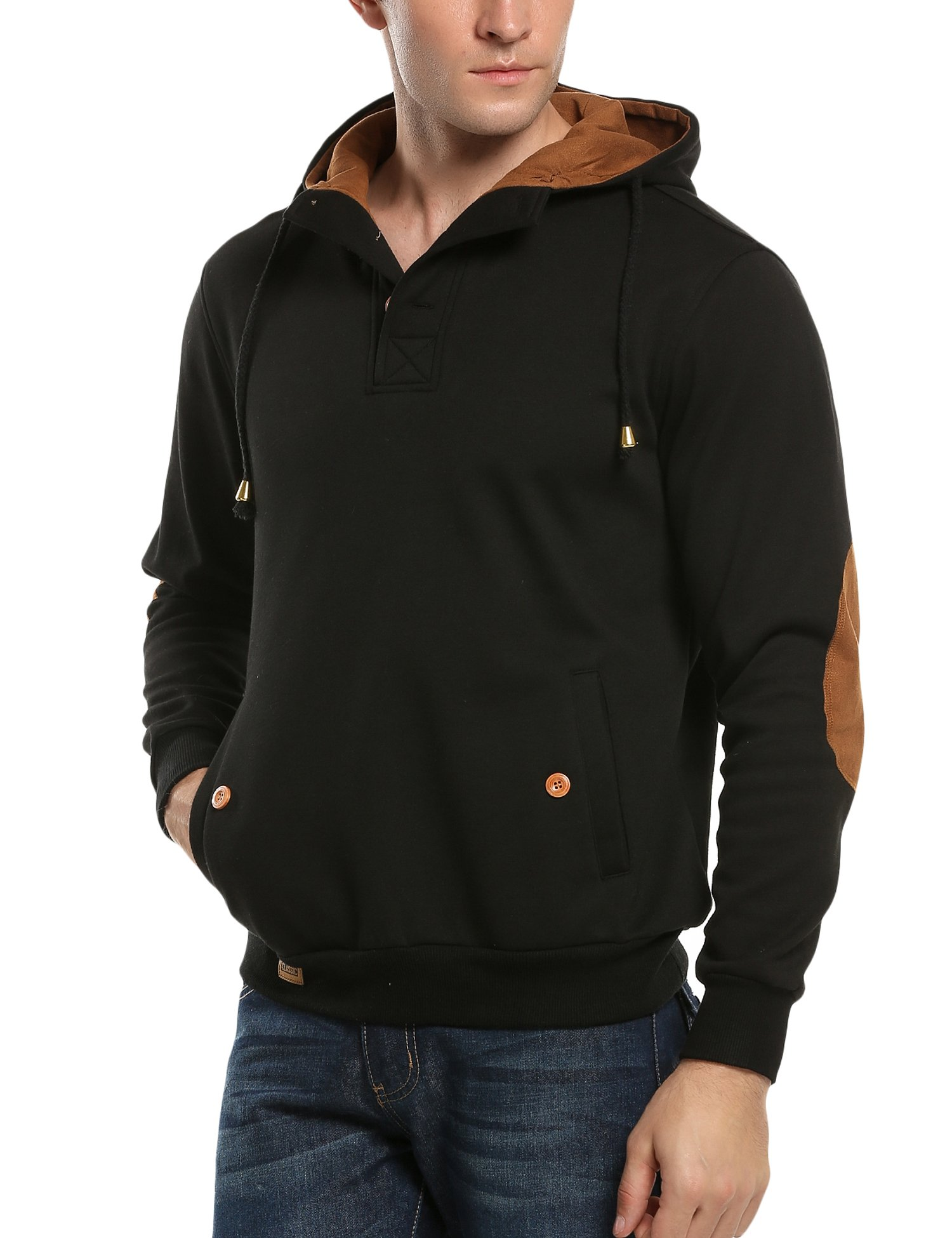 COOFANDY Men's Sherpa Lined Fleece Hoodie Sweatshirts Winter Pullover Long Sleeve Jacket with Pocket,Black,Large by COOFANDY