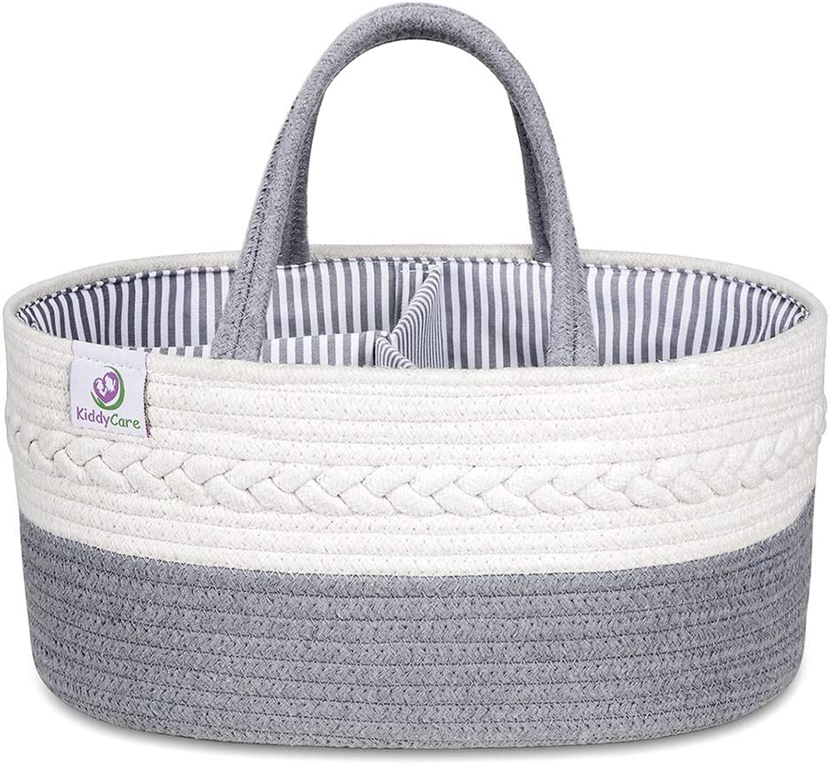 Diaper Caddy Organizer for Baby Maliton Portable Diaper Caddy for Baby Stuff 100/% Cotton Rope Baby Basket Changing Table Diaper Storage Caddy Best Baby Shower Gifts
