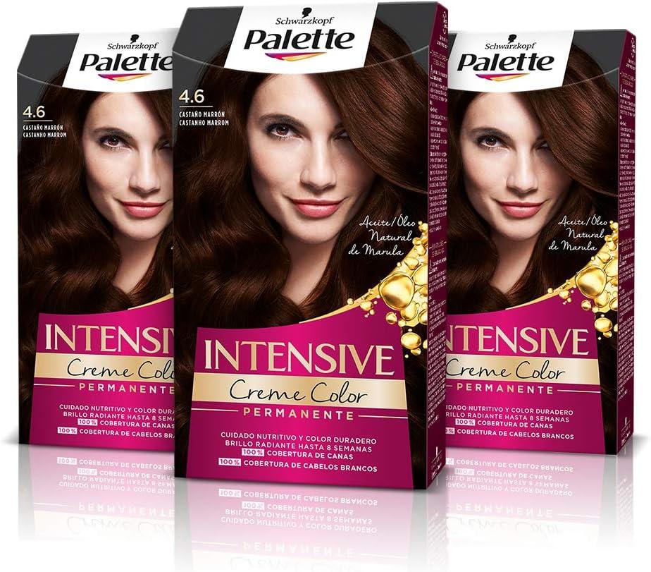 Schwarzkopf Palette Intensive Creme Color - Tono 4.6 cabello Castaño Marrón (Pack de 3) - Coloración Permanente de Cuidado con Aceite de Marula, ...