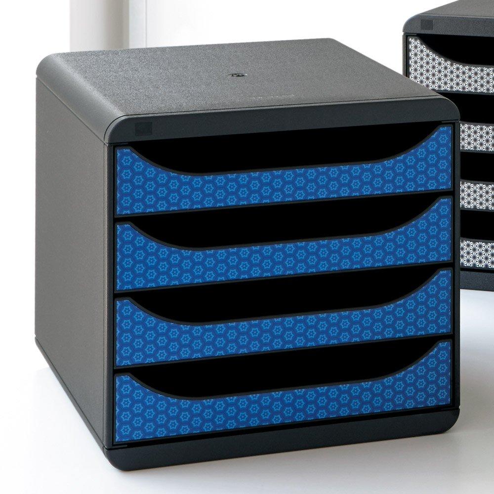EXACOMPTA エグザコンタ オーストリア製ファイルケース 柄4段 H26716(サイズはありません イ:ブルー) B079BKM8ZW イ:ブルー イ:ブルー