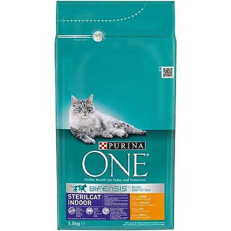 Purina ONE Sterilicat Bifensis - Alimento Seco para Gatos Esterilizados de Interior, Rico en Pollo