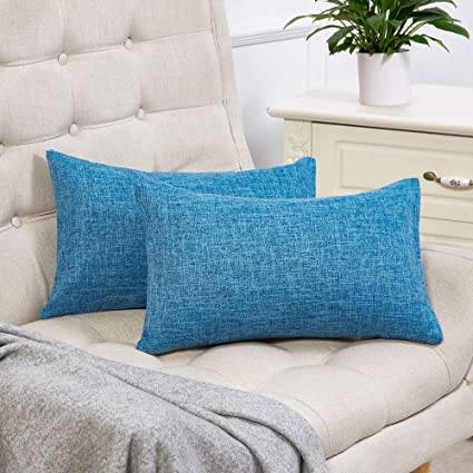 Peachy Anickal Set Of 2 Blue Lumbar Pillow Covers Cotton Linen Decorative Throw Pillow Covers 12X20 Inch For Sofa Couch Decoration Evergreenethics Interior Chair Design Evergreenethicsorg