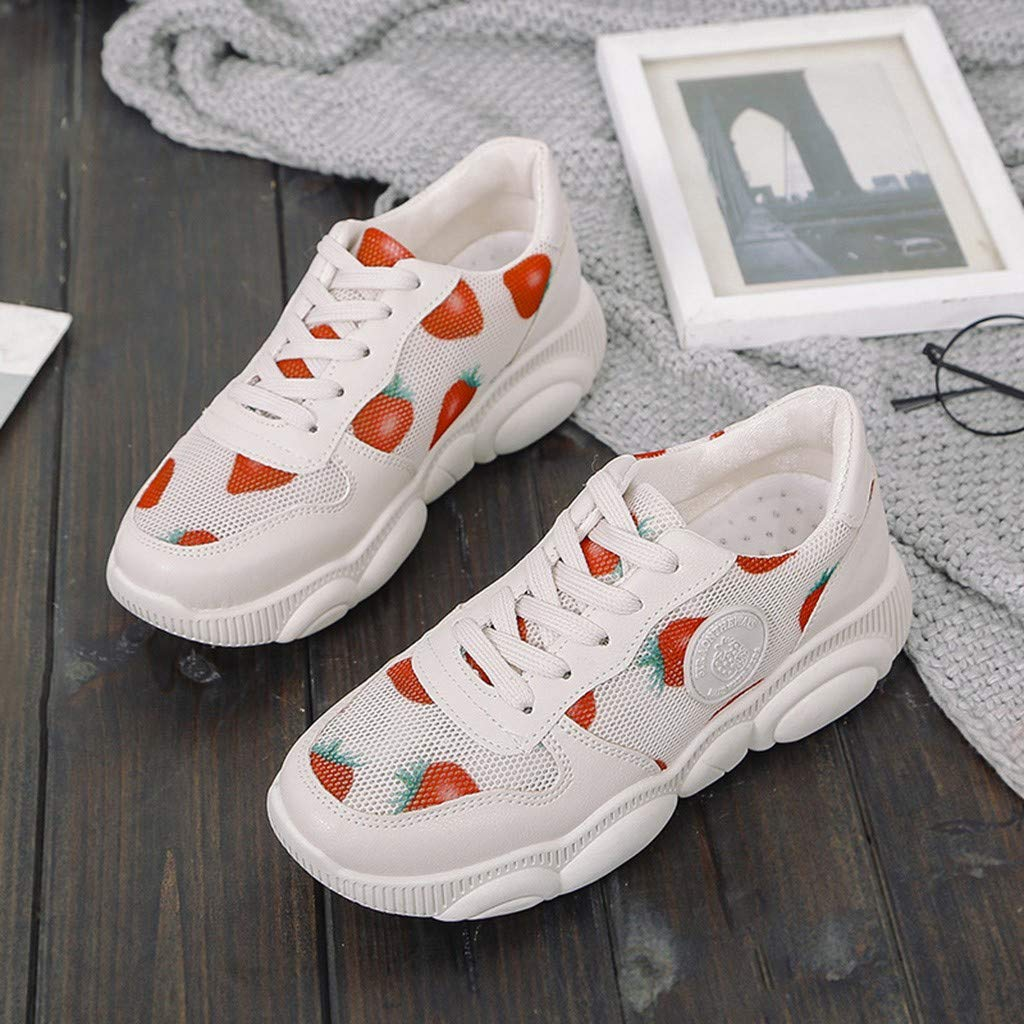 Star/_wuvi Womens Casual Walking Shoes Straberry Lace Up Sneakers Running Shoes Platform Loafers