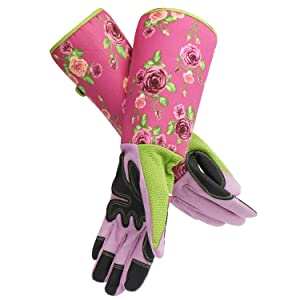 Rose Pruning Gardening Gloves, EnPoint Women Long Garden Work Gloves, Puncture Resistant Cutting Thorn Proof Glove with Long Cuff Forearm Protect Hands and Arms for Florist Flower Planting Yard Work