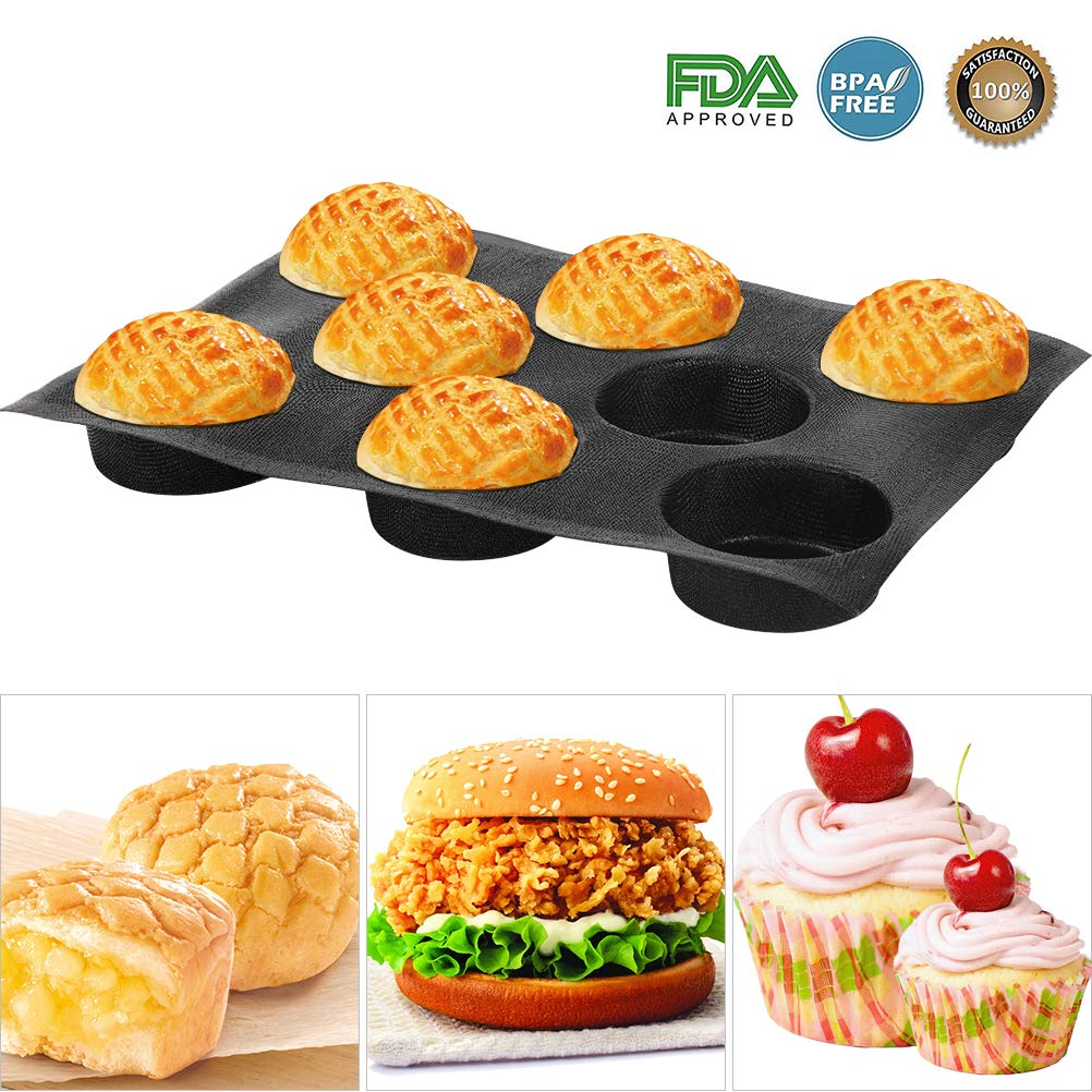 Silicone Bun Bread Forms - Hamburger Bread Form,Non-stick Perforated Bakery Mold, Round Bread Mould, Baking Liners Mat Bread Form Pan (8 Loaves, Black)