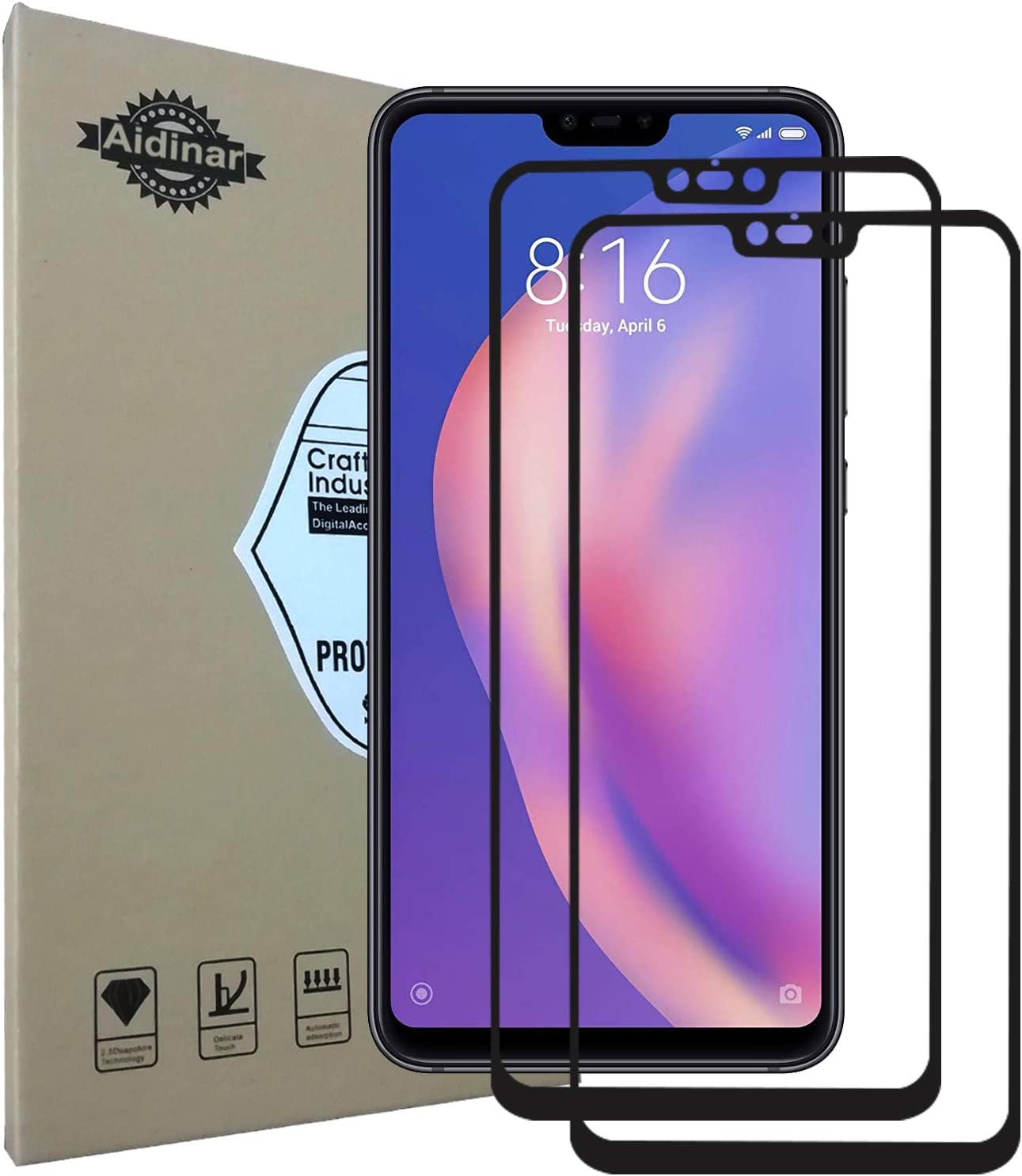 No Retail Package Glass Film GUOHUN Screen Protector Protective 50 PCS Non-Full Matte Frosted Tempered Glass Film for Xiaomi Mi 8 Lite