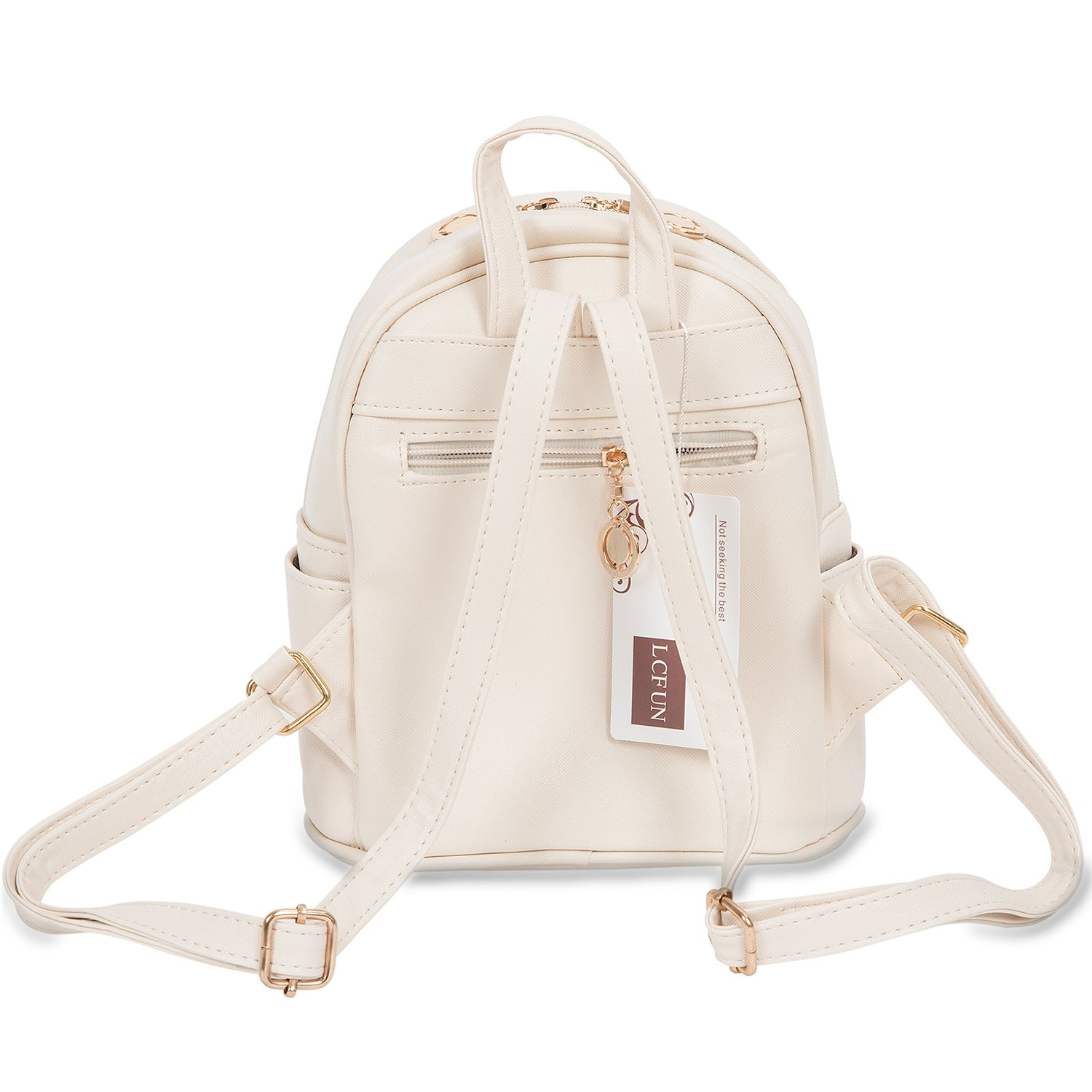 5aeb8588dcd1 Cute Mini Leather Backpack Fashion Small Daypacks Purse for Girls and Women  Beige