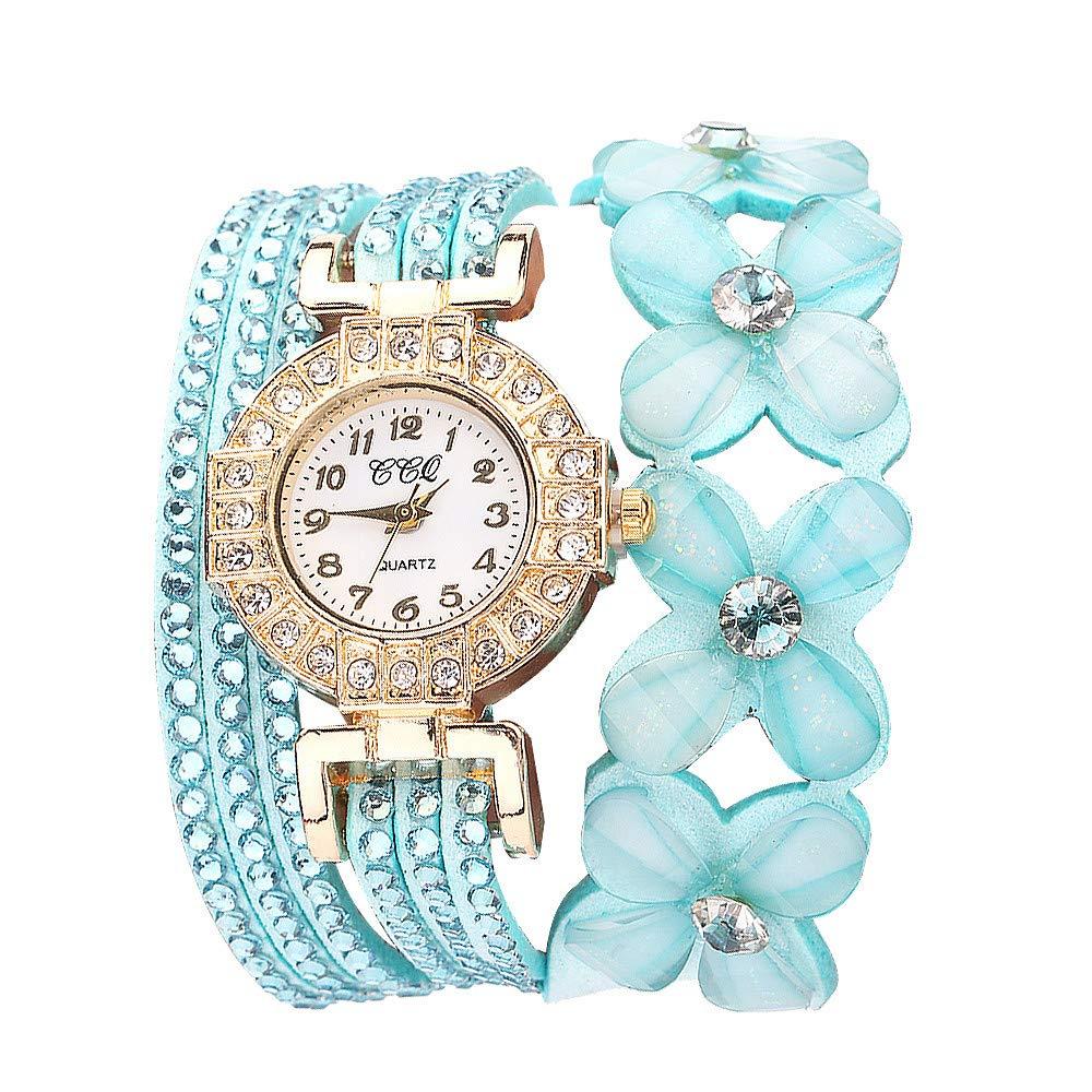 Flowers Geneva Watches Fashionable Stylish Quartz Bracelet Ladies Diamond Watch Outsta for Girls Women Gift Holiday Present (Mint Green)