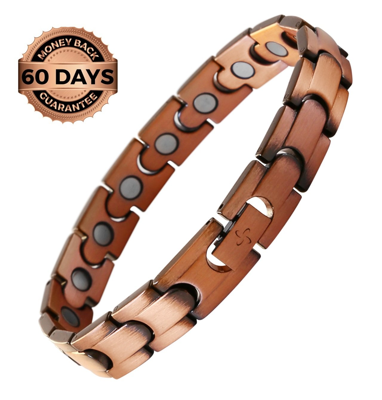 Reevaria Mens Elegant Guaranteed 99.9% Pure Copper Magnetic Therapy Bracelet Pain Relief Arthritis Carpal Tunnel, 3500 Gauss Links by Reevaria (Image #1)