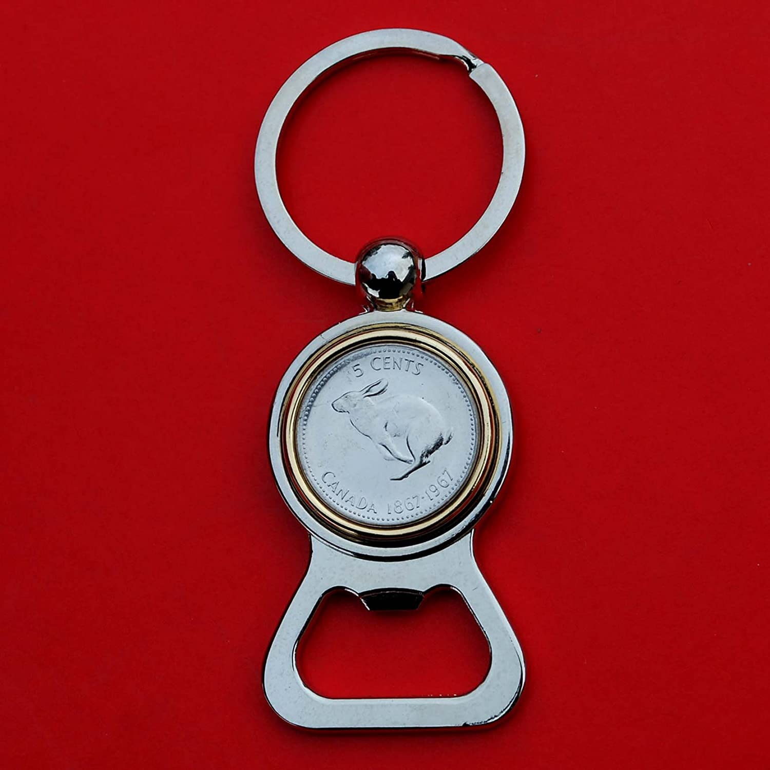 Canada 1967 Five Cents Gem BU Uncirculated Nickel Coin Gold Silver Two Tone Key Chain Ring Bottle Opener - Bounding Snowshoe Rabbit
