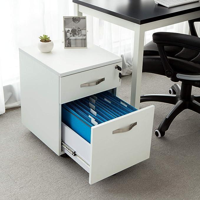 SONGMICS abschließbar cajonera Oficina Armario con 2 cajones 5 rollos inferior escritorio oficina Muebles negro 44 x 40 x 54,5 cm