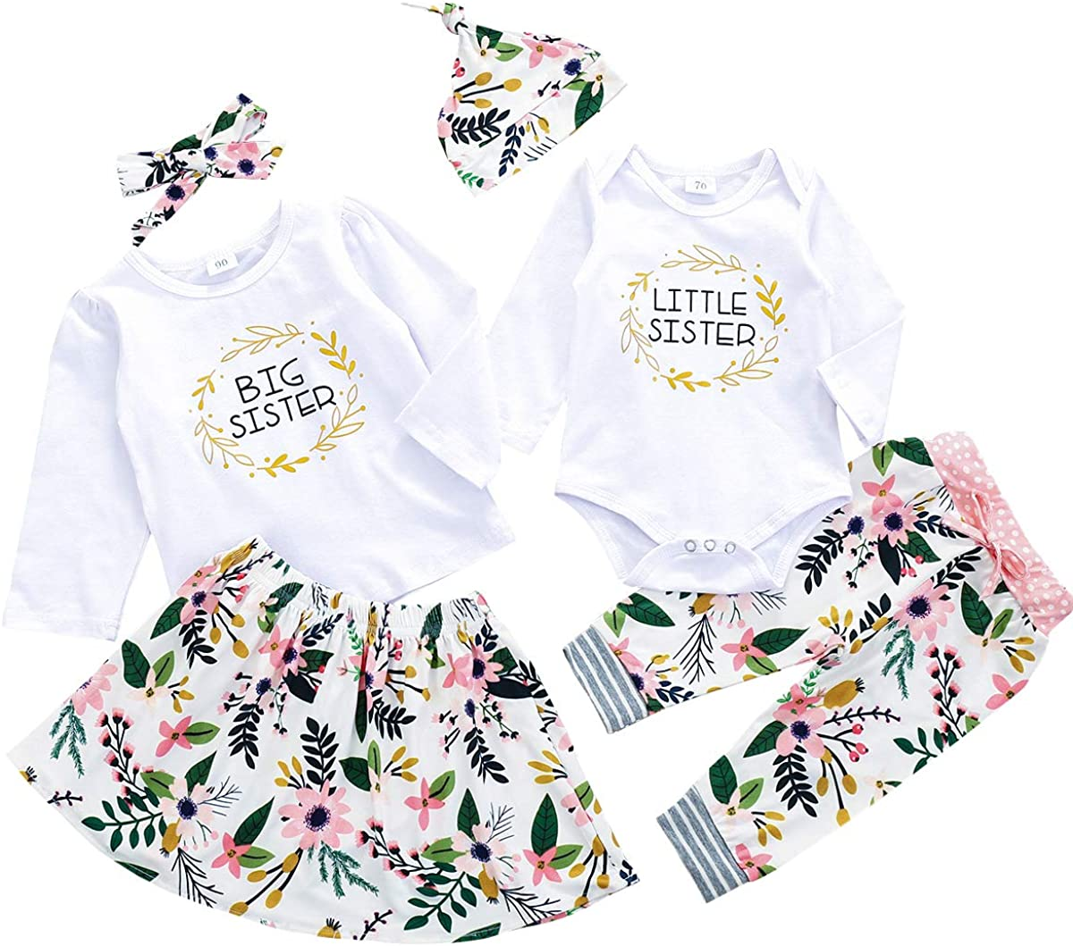 Toddler Baby Girls Sister Matching Outfits Big Kids Little Big Sister Long Sleeve Top Romper Floral Skirt Clothes Set Clothing