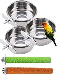 PINVNBY Bird Feeding Dish Cups Parrot Stainless Steel Food Water Dish Perch Stand Platform Feeder Cage Bowl with Clamp Holder for Cockatiel Budgies Parakeet Macaw Small Animal Chinchilla(5 Pack)