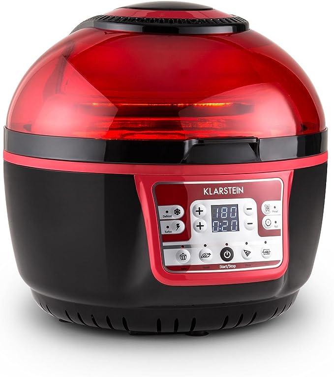 Klarstein VitAir Turbo - Freidora de aire caliente, 1400 W, 9 L, 50-230°C, Sin aceite, Infrarrojos halógenos, Programas manual/automático, Desconexión automática, Pantalla LCD, Antiadherente, Rojo: Amazon.es: Hogar