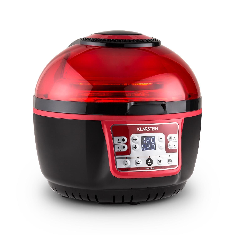Klarstein VitAir Turbo - Freidora de aire caliente, 1400 W, 9 L, Freidora sin aceite, Asar, Cocer, Freír, Placa Halógena, Programas automáticos, Pantalla LCD, Antiadherente, Rojo-negro