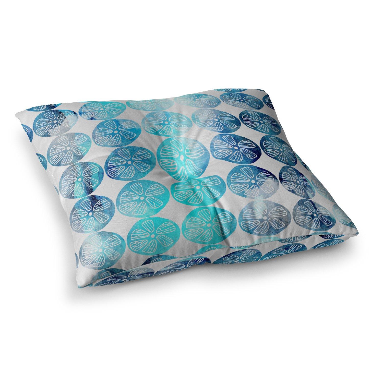 KESS InHouse Li Zamperini Beach Flowers Blue Teal Watercolor Square Floor Pillow x 26''