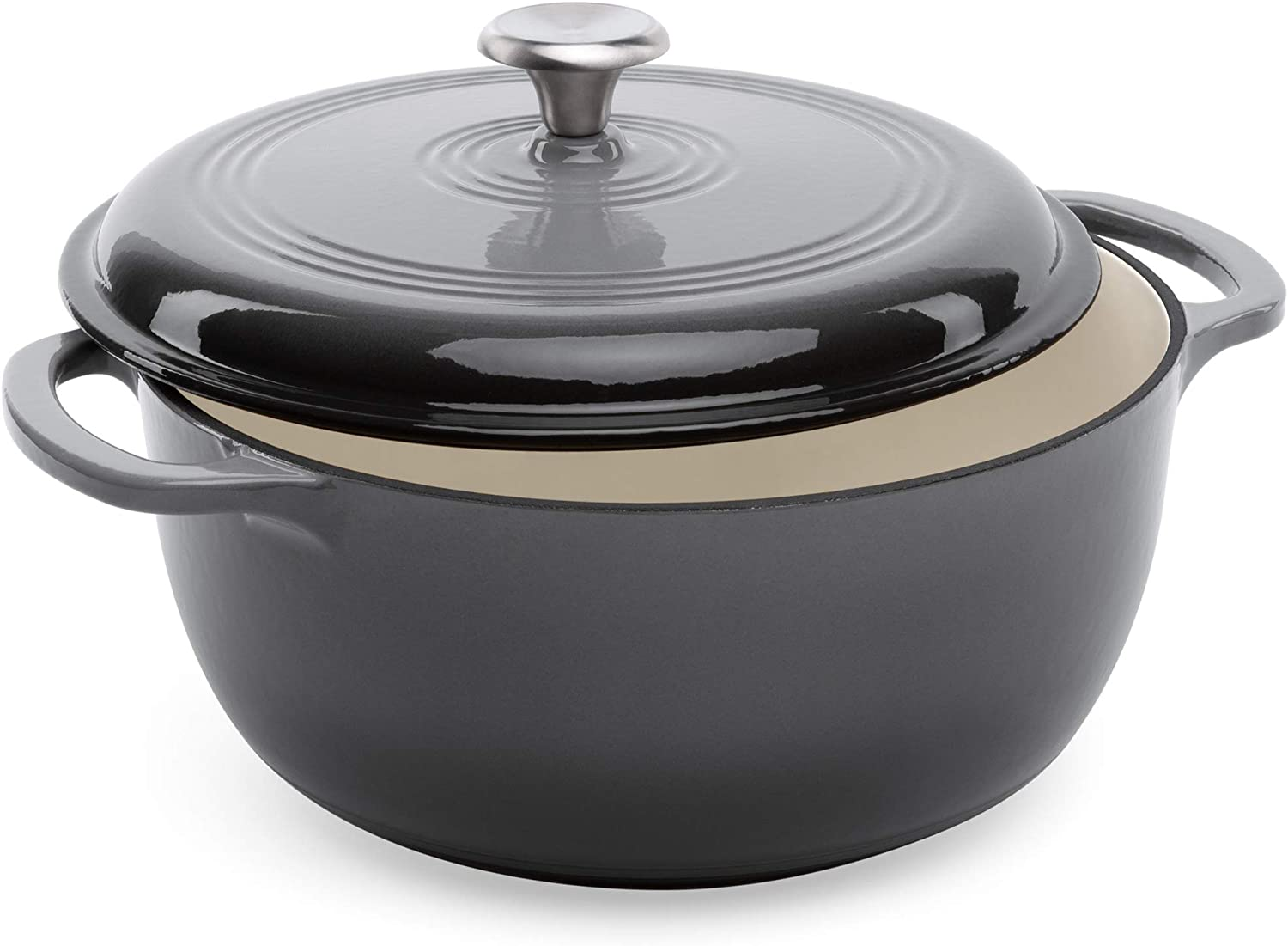 Best Choice Products 6qt Non-Stick Enamel Cast-Iron Dutch Oven for Baking, Braising, Roasting w/Side Handles - Gray