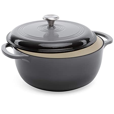 Best Choice Products 6qt Ceramic Non-Stick Heavy-Duty Cast Iron Dutch Oven with Enamel Coating, Side Handles for Baking, Roasting, Braising, Gas, Electric, Induction, Oven Compatible, Gray