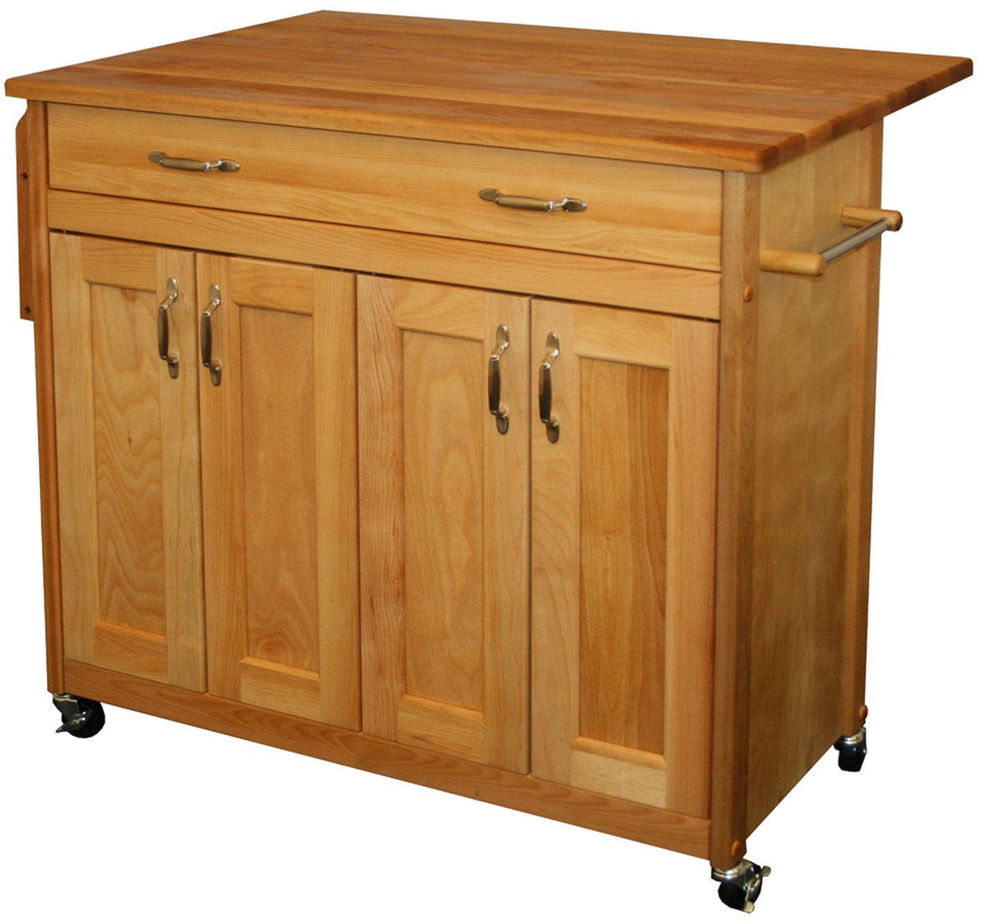 Catskill Craftsmen Mid Sized Island With Flat Panel Doors And Drop Leaf