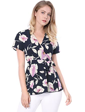 ce6c884f7d1b Allegra K Women s Crossover V-Neck Floral Self-tie Wrap Peplum Top XS Navy
