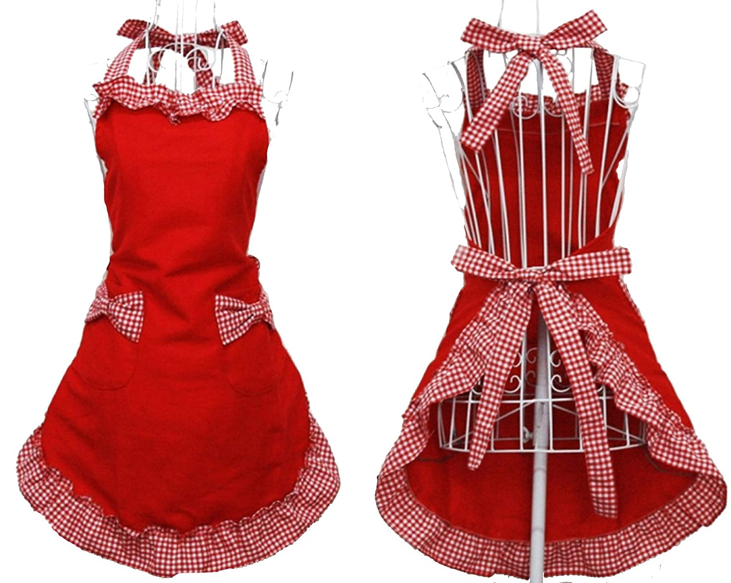 Hyzrz Cute Fashion Cotton Flirty Red Aprons for Women Girls Vintage Cooking Retro Apron with Pockets for COMINHKPR56110