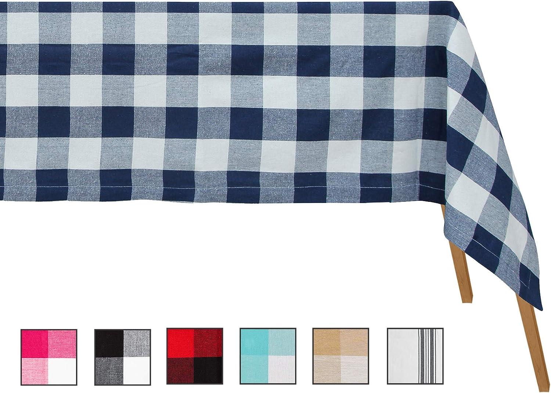 Paños de mesa extra grandes rectangulares - Mantel de algodón a cuadros - Paños de mesa de algodón rectangulares - Paño de mesa grande (Paño de tabla 63 x 126 a cuadros (azul marino y crema)