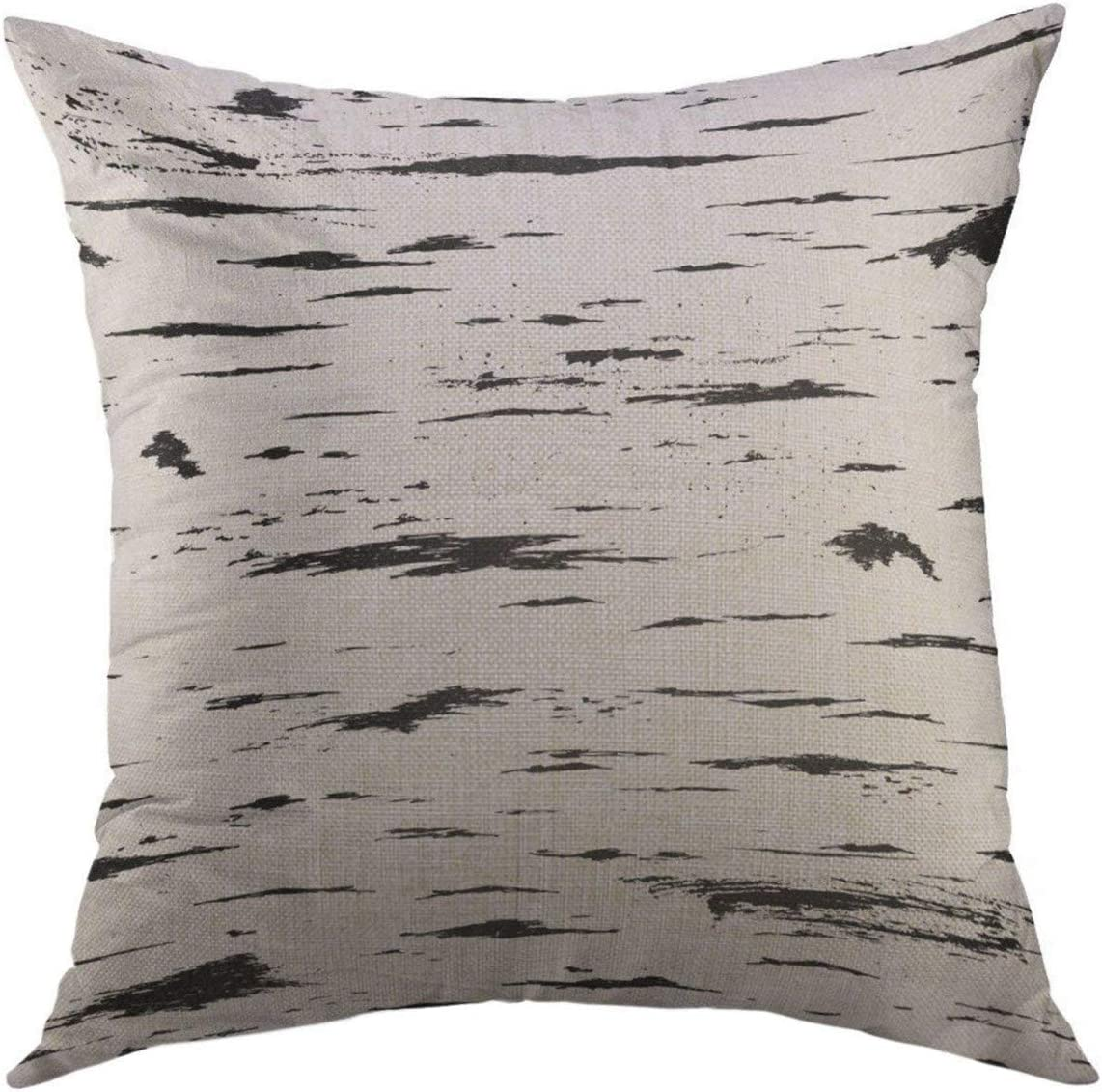 Amazon Com Mugod Decorative Throw Pillow Cover For Couch Sofa White Tree Pattern Birch Black Stripes Of Bark Scratch Paint Home Decor Pillow Case 18x18 Inch Home Kitchen