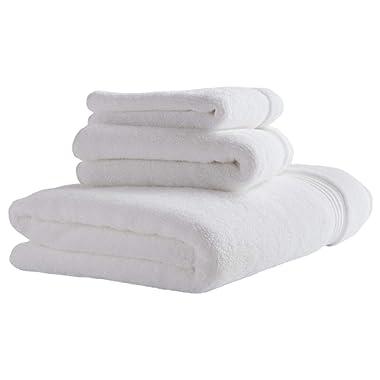 Stone & Beam Classic Egyptian Cotton Bathroom Towel Set, Set of 3, White