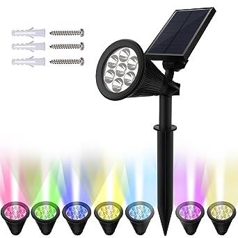 Lampe Solaire Jardin, Nexlook 7 couleurs changeantes LED Lampes murale  d\'extérieur à énergie solaire étanche, 180 ° Angle réglable, Auto-on la ...