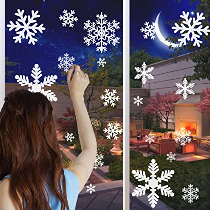 snowflake window clings sheet 6 sheet 162 snowflakes christmas window decorations diy christmas - Christmas Window Decorations