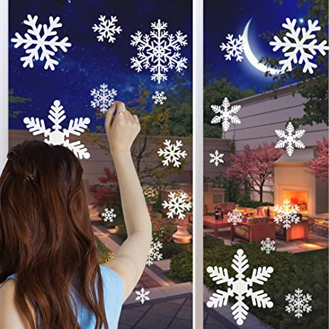 Amazoncom Snowflake Window Clings Sheet Sheet Snowflakes - Snowflake window stickers amazon