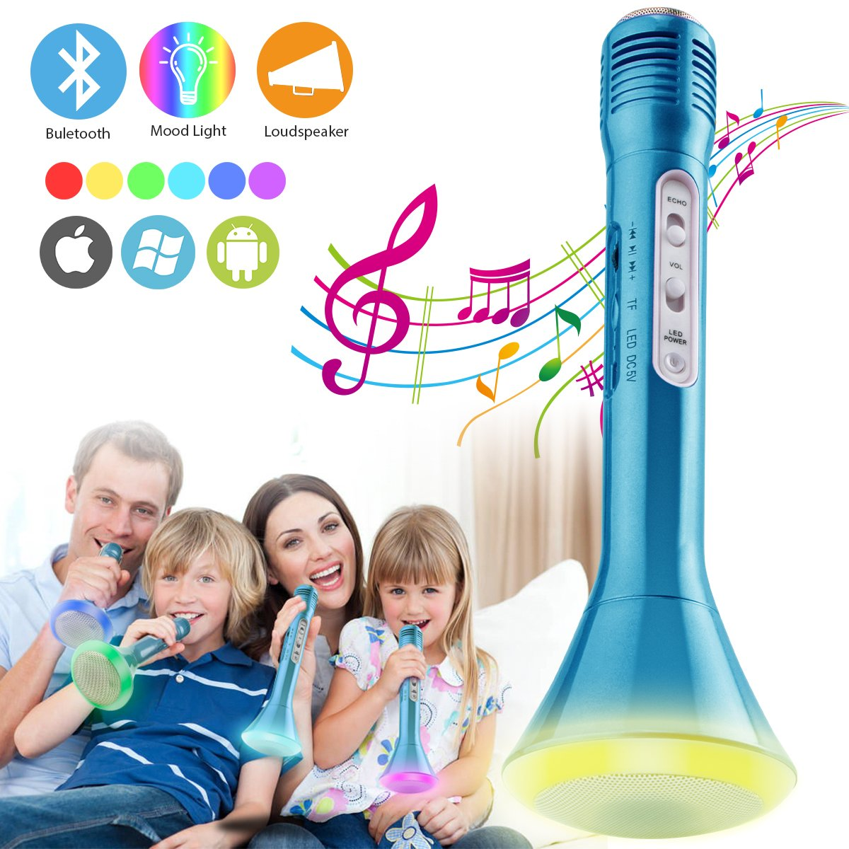 Wireless Kids Karaoke Microphone with Bluetooth Speaker, Portable Handheld Karaoke Player for Home Party KTV Music Singing Playing (Blue)