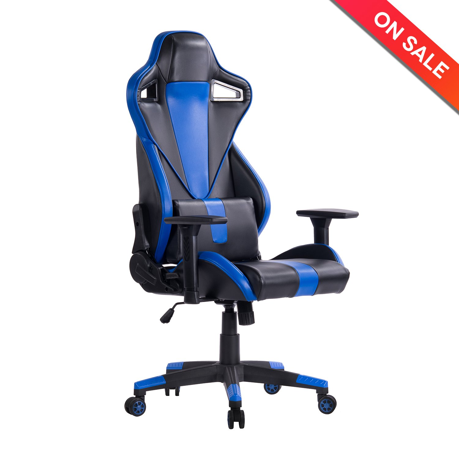 KILLABEE Racing Style Gaming Chair - 180° Back Adjustment Ergonomic High Back E-Sports Executive Computer Desk Leather Office Chair with 3-D Arms and Detachable Lumbar Support