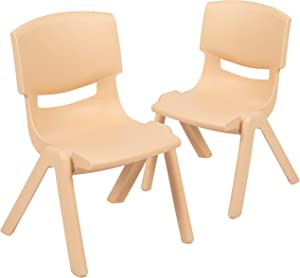 """Flash Furniture 2 Pack Natural Plastic Stackable School Chair with 10.5"""" Seat Height"""