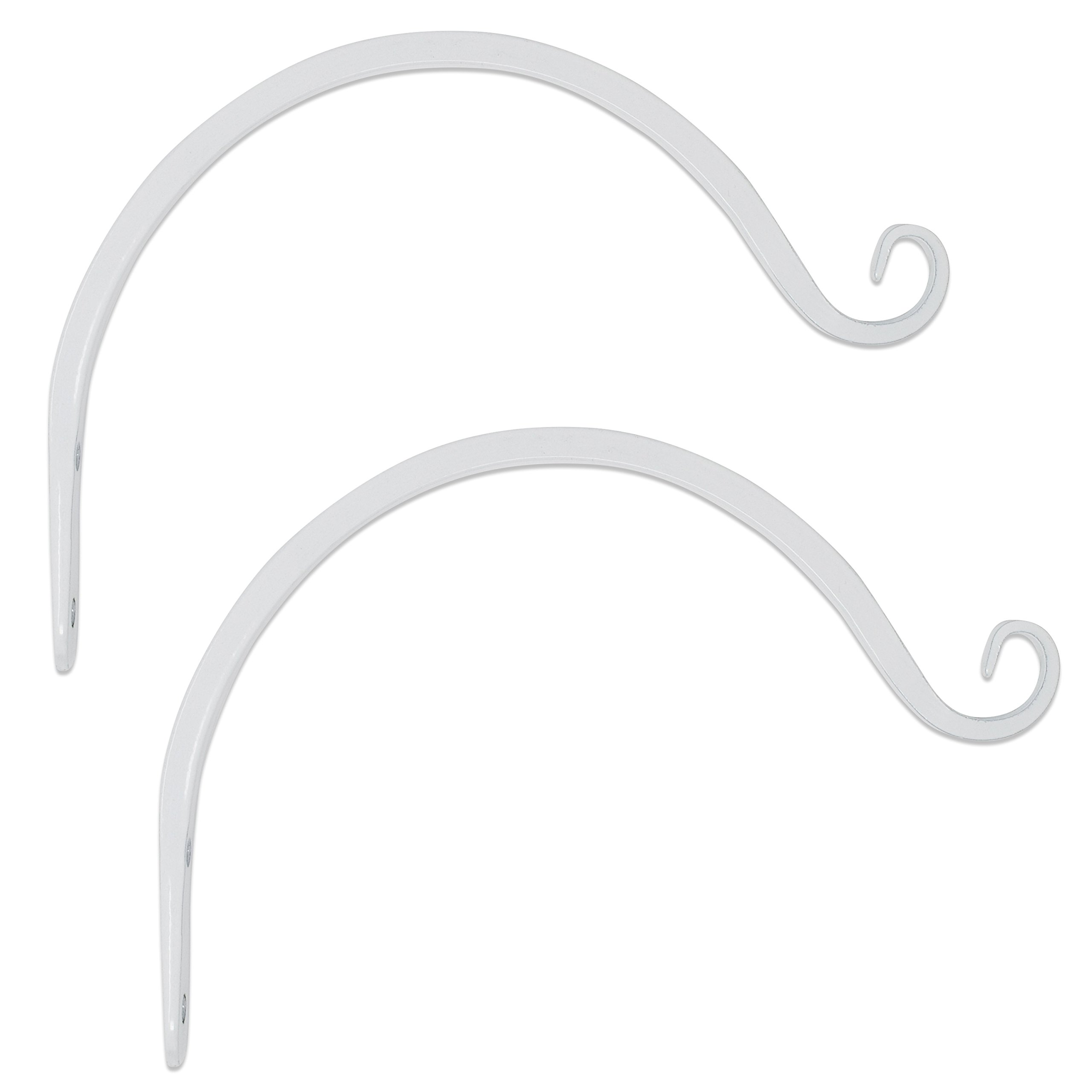GrayBunny GB-6863B Hand Forged Curved Hook, 8.5 Inch, White, 2-Pack, For Bird Feeders, Planters, Lanterns, Wind Chimes, As Wall Brackets and More!