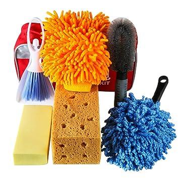 Portable Bag MRCARTOOL 7 Pack Portable Car Wash Clean Kit with Car Wash Mitt//Car Wash Sponge//Wheel Brush//Car Air Vent Mini Duster with Dustpan//Small Wax Drag