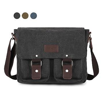Amazon.com: SMRITI Canvas Messenger Bag Laptop Satchel for School ...
