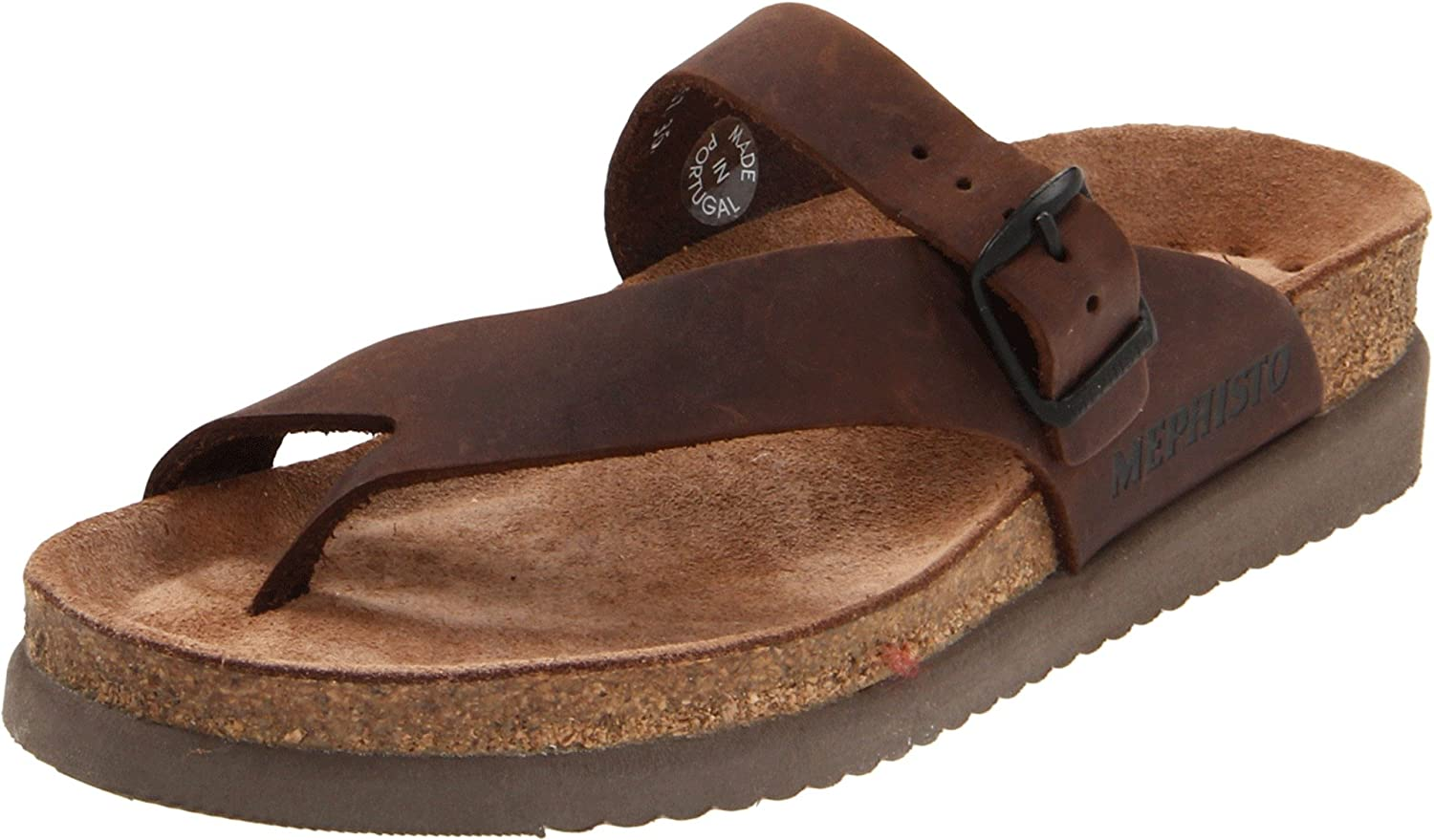 Dark Brown Scratch Mephisto Women's Helen Thong Sandal